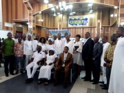 Executive of the GJA in a group photograph with Pastor Mensah Yanney and others