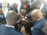 Pastors praying for Lawyer Mike Oquaye as he leaves for India