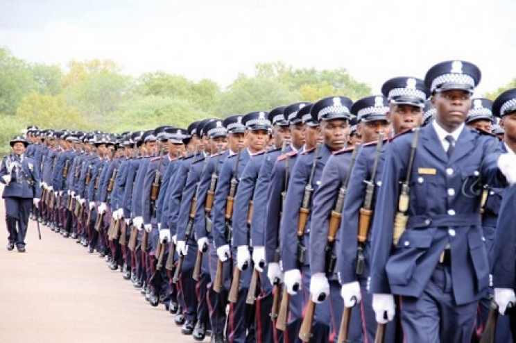 Botswana Police personnel at a parade ceremony