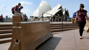Security bollards were installed at the Sydney Opera House in September