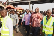 Mr. Ashittey second right and Mayor Adjei Sowah on an inspection tour