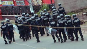 Police in riot gear patrolled the streets of Buea